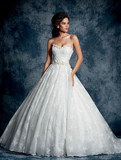 Alfred Angelo Style 893: Fantastic strapless ball gown wedding dress in sequined all over lace that has been accented at the sweetheart neckline and natural waist