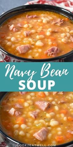 Navy Bean Soup In this recipe navy beans are paired with smoked ham, vegetables and a combination of spices to make a hearty and delicious soup. Ham And Beans, Ham And Bean Soup, Ham Soup, Soup Beans, Bean Soup Recipes, Navy Bean Recipes, Yankee Bean Soup Recipe, Recipes With Navy Beans, Sopa Crock Pot