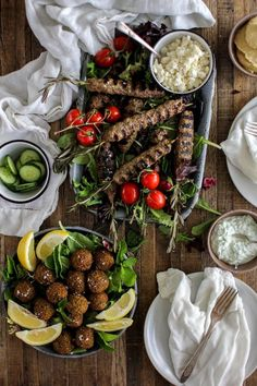 Rosemary Lamb Kofta and Falafel Feast for Father's Day recipe || We have multiple dietary preferences gathering around our Father's Day table this year , so the menu will appease them all! Rosemary lamb kofta for the meat eaters and fresh homemade falafel for our vegetarians. || @thismessisours @surperiorfarms #FathersDay #glutenfree