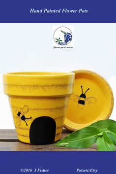 Painted Flower Pot - Bee Hive, Yellow, Terra Cotta Planter, Hand Painted, Clay Pot, Home or Garden Art, Small 4 In, Spring, PPBH0416    $13.78   #paintedflowerpots #handpaintedflowerpots #flowerpots #gardencontainers #claypots
