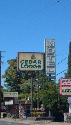 Cedar Lodge 60's sign in Medford