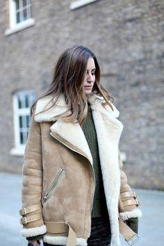 Blogger Gala Gonzalez wearing #AcneStudios Velocite oversized shearling jacket