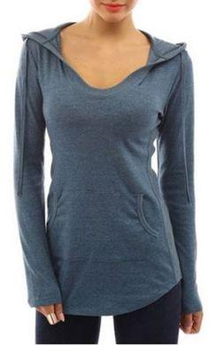 Casual Blue BodyCon Hoodie! Hooded Long Sleeve Slimming Blue Grey Women's Hoodie #Lightweight #Blue #Grey #Hoodie #Fashion