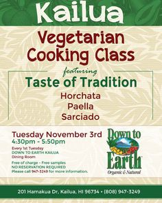 Good morning  hope you can join us for our FREE Kailua Cooking Class today  starts at 430p  see you there!  #eathealthybehappy #gokailua #kailua #kailuacookingclass