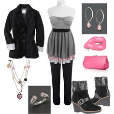 """""""Plus Size - Black, Gray and Pink Outfit"""" by intcon on Polyvore"""
