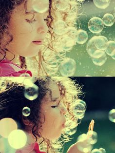 Blowing bubbles, a simple summer activity and a great way to get some candid photos.
