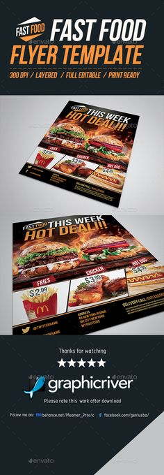Food Flyer Template Vol 7 Flyer template, Template and Fonts - food flyer template