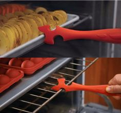 A oven rack pusher/puller will prevent the klutzy and unfortunate from getting nasty burns.