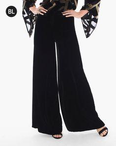 Chico's Women's Black Label Velvet Wide-Leg Pants, Black, Size:
