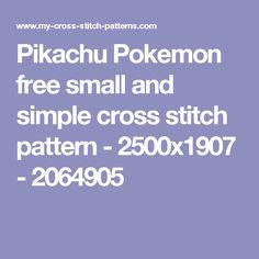 Pikachu Pokemon free small and simple cross stitch pattern - 2500x1907 - 2064905