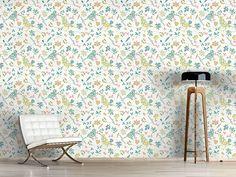 Design Vöglein Im Busch Flora, Delicate, Design, Self Adhesive Wallpaper, Pastel Colors, Wall Papers, Plants