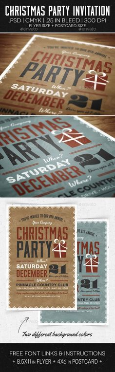 Christmas Party #Flyer & #Invitation - Holidays Events Download here: https://graphicriver.net/item/christmas-party-flyer-invitation/6176445?ref=alena994