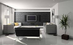 Swank-Garnish-Apartment-Furniture-With-Grey-Graphic-Wall-Decal-And-Large-Lcd-Also-Grey-Leather-Tuxedo-And-Modern-Living-Sofas-Set-On-Gloss-White-Tiles-Flooring-And-Shade-Floor-Lamps