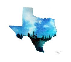 Texas Sky print from original watercolor by JessicaIllustration