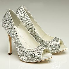 Benjamin Adams Charlize Wedding Shoes. Crystal covered bridal shoes, platform, peep toe. Benjamin Adams wedding shoes have fashion flair & special details that you will love to wear!
