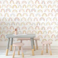 Rainbow Wallpaper, Kids Wallpaper, Pattern Wallpaper, Rainbow Room, Rainbow Nursery, Baby Girl Nursery Wallpaper, Girls Room Design, Daughters Room, Room Planning