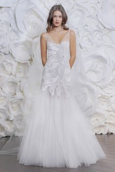 Wed Magazine » High Altitude. High Fashion. » Naeem Khan Fall 2015.  Applique and tulle wedding gown.