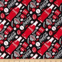 Coca Cola Allover Print Black from Licensed from Coca Cola by Sykel Enterprises, this cotton print fabric is perfect for quilting, apparel and home decor accents. Colors include red, white, grey and black. Coke, Pepsi, Coca Cola Wallpaper, Cocoa Cola, Coca Cola Kitchen, Coca Cola Christmas, Always Coca Cola, Plastic Box Storage, Kitchen Wallpaper