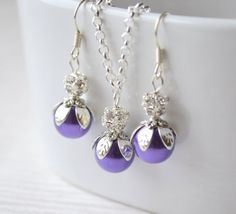 Purple bridesmaid jewelry set of necklace and by LaurinWedding, $15.00