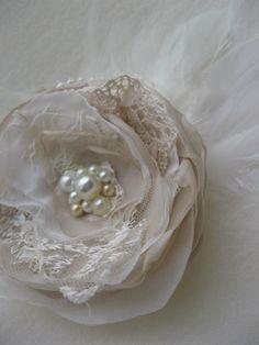 Vintage Rustic Wedding headpiece bridal Hair clip by LeFlowers, $28.00