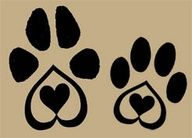 dog paw tattoos; like the heart in the middle I wanyt it with the progressive reinforcement symbol on one of the toes