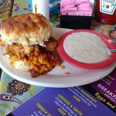"""Getting #pluckedup with The Chelsea, a biscuit with fried chicken, pimento cheese, bacon and jalapeno jelly. Fantastic Plucked Up Diner in Columbus, Georgia. #visitcolumbusga #breakfast #biscuits #cheesegrits  #travelblogger #travelwriter #travelbinderfollow #exploregeorgia #columbus #atlanta100 #girlonthego #breakfastofchampions"" by @janschroder (Jan Schroder 🌍Travel Writer). #turismo #instalife #ilove #madeinitaly #italytravel #tour #passportready #instavacation #natgeotravel…"