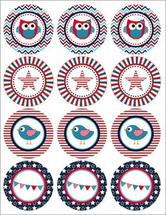 FREE 4th of July PRINTABLE - 4th of July or Memorial Day Printable.  Patriotic Birds Cupcake Toppers