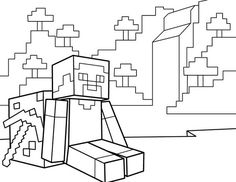 Minecraft Coloring Page Coloring Picture Steve And