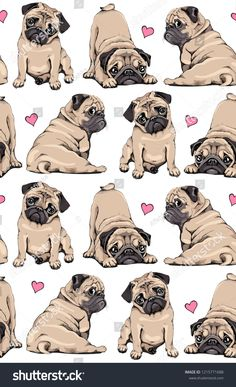 Find Seamless Pattern Adorable Beige Pug Puppies stock images in HD and millions of other royalty-free stock photos, illustrations and vectors in the Shutterstock collection. Thousands of new, high-quality pictures added every day. Black Pug Puppies, Black Puppy, Pug Quotes, Grey French Bulldog, Dog Pop Art, Funny Iphone Wallpaper, Baby Pugs, Cute Animal Drawings, Wallpaper Quotes
