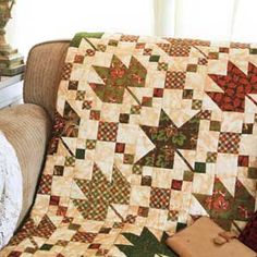 """Leaf Music"" Quilt - McCallsQuilting.com  59.5""X59.5"" square  Fabric: Thimbleberries Harvest Homecoming Collection"