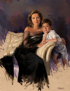 """Portrait of Nieves Segovia with her Son, Enrique"" -- by Ricardo Sanz Spanish) Portraits From Photos, Family Portraits, Grace Kelly, Mother Art, Family Painting, Spanish Painters, Oil Portrait, Human Art, Beautiful Paintings"