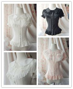 Lolita Falbala White Slim Lace Blouse Chiffon Shirt Women Cute Short Tops Lady #Unbranded #Blouse #Casual