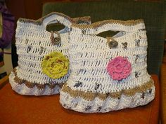 Eco-friendly Purse - Crochet Me   this purse  or bag is made from shopping bags.plarn is plastic yarn. its easy to use, I have made a lot of stuff with it. .