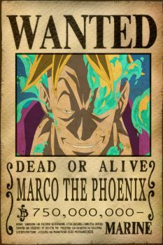 Wanted poster of Marco the Phoenix from One Piece. Marco the Phoenix Bounty Otaku Anime, Manga Anime, One Piece New World, One Piece Crew, Anime One Piece, One Piece Luffy, One Piece Bounties, Akuma No Mi, One Piece English
