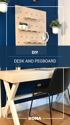 Create a workspace at home by building your own desk and a customizable pegboard.