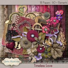 TIMELESS LOVE - Digital Scrapbooking Kit - 18 Beautiful Papers - 60 Plus Elements -