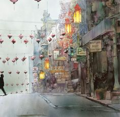 Morning Fog (watercolor on cold-pressed Arches paper, 35×36.5) by John Salminen #watercolour #painting