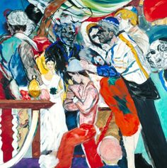 R.B. Kitaj (1932–2007), The Wedding, 1989–93. Oil paint on canvas Dimensions Unconfirmed: 1829 x 1829 mm frame: 1990 x 1990 x 73 mm. Collection Tate Britain. Acquisition Presented by the artist 1993. Reference: T06743