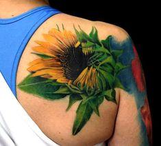 15 Sunflower Tattoo on Shoulder