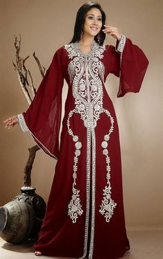 Ethnic maxi Kaftan  dark red small