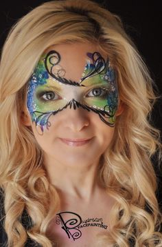Ornate Masquerade Mask in peacock colors Masquerade Mask Makeup, Fairy Costume Diy, Mask Face Paint, Adult Face Painting, Face Painting Designs, Mask Design, Face And Body, Mardi Gras, Hair And Nails