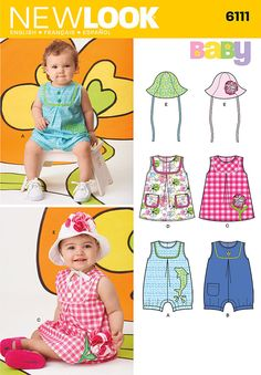 Simplicity New Look Sewing Pattern #6111 Infant to toddlers sundress, rompers, hat. Size NB-L 7-24 lbs. by LittleShopOfSewing on Etsy