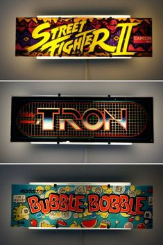 Arcade Video Game Wall Sconce - Wall Lamps & Sconces - While many of us fans of classic arcade games would love to have a whole roomful of old arcade cabinets, we don't always have the … Read Sconces Living Room, Bedroom Lamps, Wall Sconces, Wall Lamps, Classic Video Games, Retro Video Games, Arcade Game Room, Arcade Games, Cafe Geek