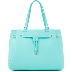 Kate Spade New York Lynnie Tote (455 CAD) ❤ liked on Polyvore featuring bags, handbags, tote bags, leather tote handbags, leather tote, blue leather tote bag, blue leather handbag and handbags totes