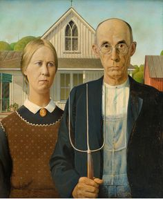 """ Grant Wood (1891-1942), American Gothic, 1930. oil on beaver board, 78 x 65.3 cm """