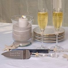 Beach Champagne Flutes and Cake Serving Set - Personalized (also sold separately) $60.00