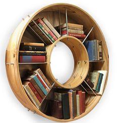 Coolest bookcase aRound :o)  More housekeeping hacks..... http://www.heatherholme.com/wordpress/my-household-tips