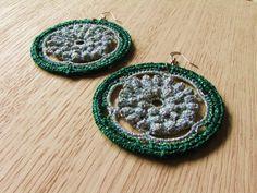 Crochet earrings lace earrings hoop earrings by FarbotyKnoty Lace Earrings, Silver Earrings, Crochet Earrings, Hoop Earrings, Lace Making, Earring Backs, Crochet Lace, Pouch, My Favorite Things