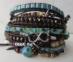 Boho Turquoise Leather Wrap Bracelet Beaded por OrnamentationbyMary