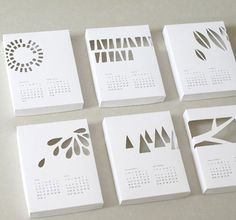 die cut calendars    Two months per page.  Event Information at top